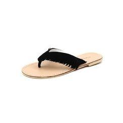 DABAGIRL - Fringed Thong Flip-Flops