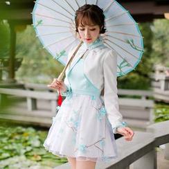糖果雨 - 假两件长袖连衣裙