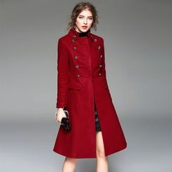 Y:Q - Double-Breasted Wool Blend Coat
