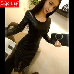Silkfold - Long-Sleeve Lace Panel Faux leather Sheath Dress