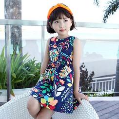 Cuckoo - Kids Floral Print Sleeveless Dress