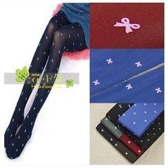 花小朵 - 蝴蝶结图案连袜裤