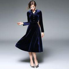 Y:Q - Stand Collar Velvet Midi Dress