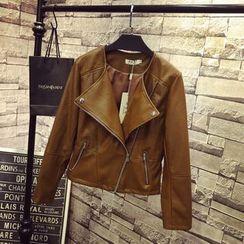 QLand - Faux-Leather Biker Jacket