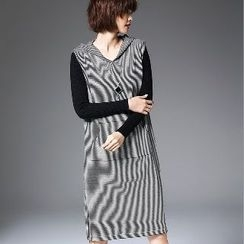 Romantica - Sleeveless Striped Hooded Long Knit Top