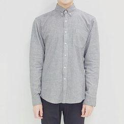 Seoul Homme - Long-Sleeve Striped Cotton Shirt