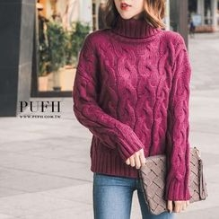 PUFII - Turtleneck Cable Knit Top