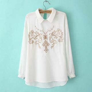 JVL - Long-Sleeve Embroidered Chiffon Blouse