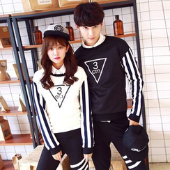 Lovebirds - Set: Couple Striped Pullover + Sweatpants