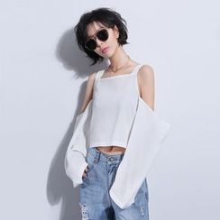 Sonne - Cutout-Shoulder Wide-Sleeved Cropped Top