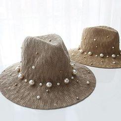 EVEN - Faux Pearl Linen-blend Fedora Hat