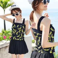 Dolfin - Set: Banana Print Tankini Top + Swim Skirt