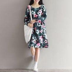 Snow Flower - Floral Print Long-Sleeve Dress