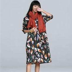 Jolly Club - Long-Sleeve Fleece-Lined Printed Dress