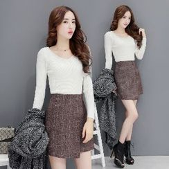 Romantica - Set: Long-Sleeve Top + Check Skirt