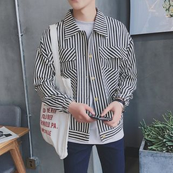 Arthur Look - Letter Pinstripe Long-Sleeve Shirt