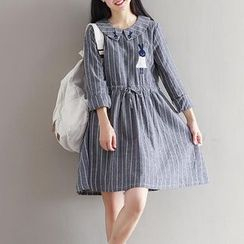 Snow Flower - Pinstriped Long-Sleeve Collared Dress