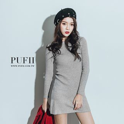 PUFII - Ribbed Knit Minidress