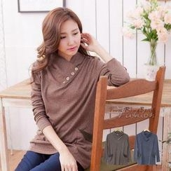 RingBear - Plain Button-Accent Piped Top