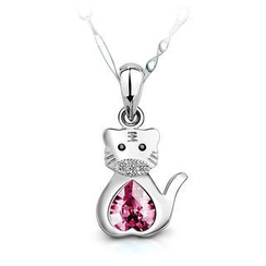 BELEC - 925 Sterling Silver Chinese Zodiac Tiger Pendant with Pink Swarovski Element Crystal and 40cm Necklace