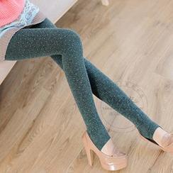 nooyi - Dotted Fleece-Lined Leggings