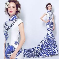 Angel Bridal - Printed Qipao