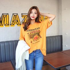 Seoul Fashion - Round-Neck Printed T-Shirt