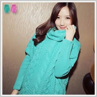 Clair Fashion - High-Neck Loose-Knit Long Sweater