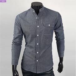 WIZIKOREA - Mandarin-Collar Stitched Shirt