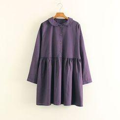 Mushi - Pinstriped Peter Pan Collar Long Sleeve Dress