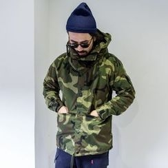 YIDESIMPLE - Underarm-Zipper Camo Hooded Jacket