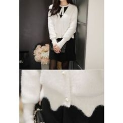 MyFiona - Scallop-Hem Furry-Knit Cardigan