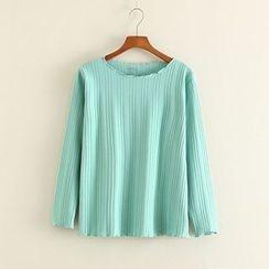 Mushi - Ribbed Knit Long Sleeve T-Shirt