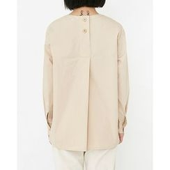Someday, if - Buttoned-Back Cotton Top