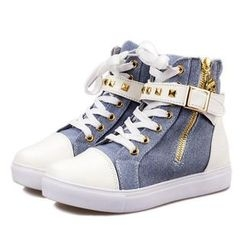 Yoflap - Studded Hidden Wedge High-Top Sneakers