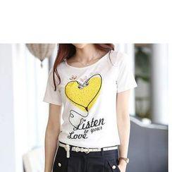 Zyote - 短袖印花水鑽 T 恤