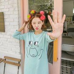 Seoul Fashion - Cotton Print T-Shirt Dress
