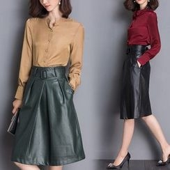 Lavogo - Set: Long-Sleeve Blouse + Faux Leather A-Line Skirt