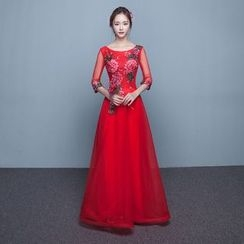P-BRIDE - Elbow-Sleeve Embroidered Evening Gown