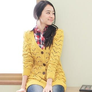 CatWorld - V-Neck Pointelle Cardigan