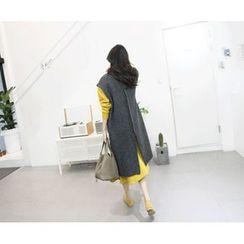 MARSHMALLOW - Open-Front Sleeveless Long Cardigan
