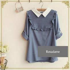 Rosadame - Ruffle Button-Back Blouse