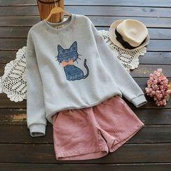 YOYO - Fleece-Lined Cat Print Pullover