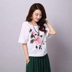 chic n' fab - Floral Print Elbow-Sleeve T-Shirt