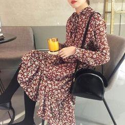 Sinbounboun - Floral Print Midi Chiffon Dress