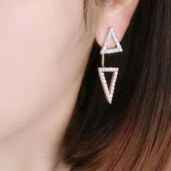 Ticoo - Rhinestone Triangle Earrings