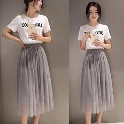 Angel Shine - Set: Printed T-Shirt + Mesh Midi Skirt