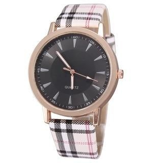 Miss Girl - Faux Leather Plaid Strap Watch