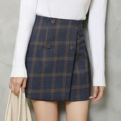 Jolly Club - Buttoned Plaid Skirt