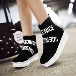 JY Shoes - Lettering Platform Ankle Boots